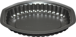 Black Oval Plastic Food Tray 1 Compartment