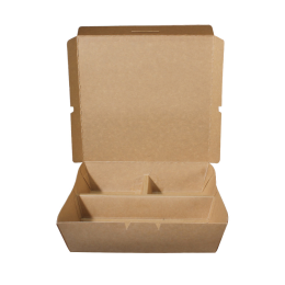 Paper Lunch Box Brown Kraft 3 Compartment 1200ml