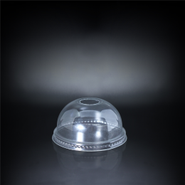 Plastic Dome Lid with Straw Slot and FH Clear Design 98mm